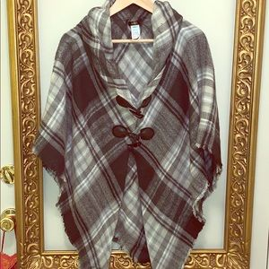 Jackets & Blazers - Black, white and grey plaid poncho